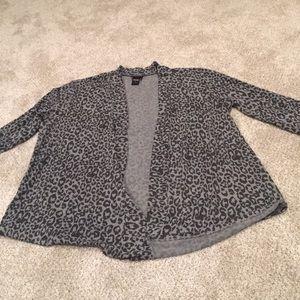 Torrid cheetah print open front cardigan